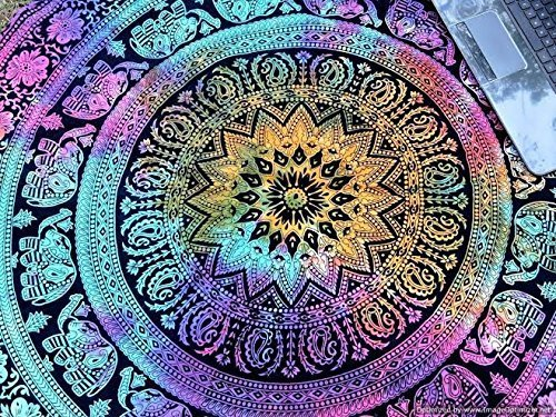 Popular Tye dye Elephant Mandala Round Roundie Beach Throw Indian Tapestry Hippie Yoga Mat Décor urban tapestry round table cloth by Popular (Hippie Room Accessories)