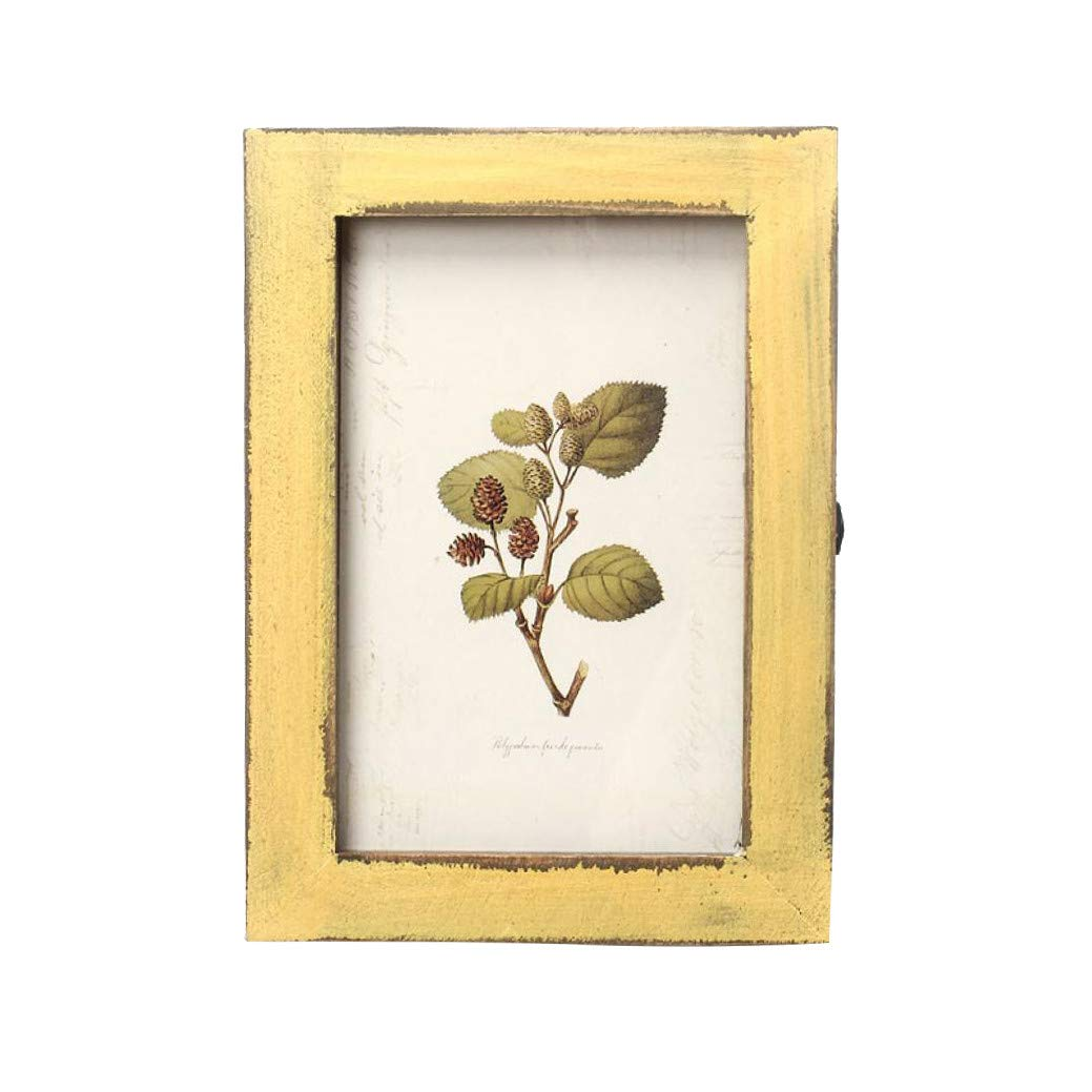 Pollyhb Vintage Photo Frame,Wooden Picture Frame Wall Mounted Hanging Photo Frames,Picture Frames (Yellow)