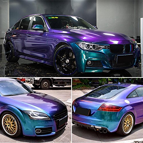 ATMOMO Purple Blue Chameleon Glossy Vinyl Car Wrap Sticker Car Body Films Sticker Decal Roll 1.52Mx75CM