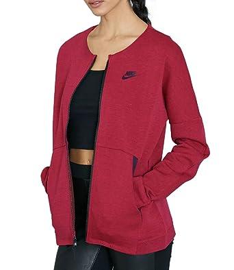 adb4af73c4b3 Nike Women s Tech Fleece Knit Zip Up Jacket 803585 (Maroon Black ...