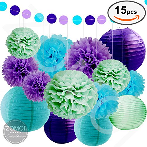 SEA THEME BRIDAL SHOWER PARTY DECORATION   Paper Lanterns, Tissue Pom Poms  Flowers, Paper Garland And Polka Dot For Mermaids Under The Sea Theme  Bridal ...