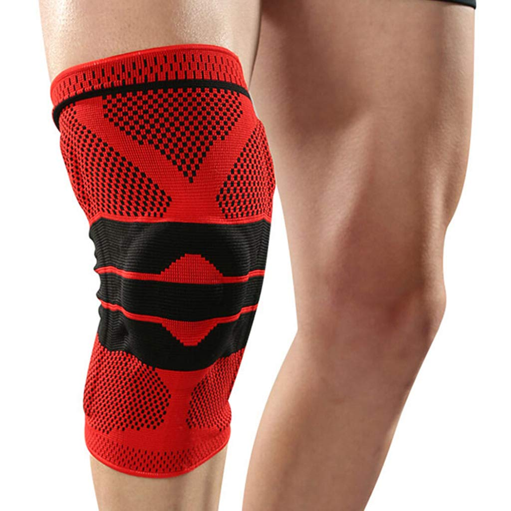 QIANDING HUXI Knee Climbing Basketball Football Running Fitness Sports Breathable Collision Protection Outdoor Racing Motorcycle Riding Anti-Drop Equipment Unisex Leggings (Color : Red, Size : M)