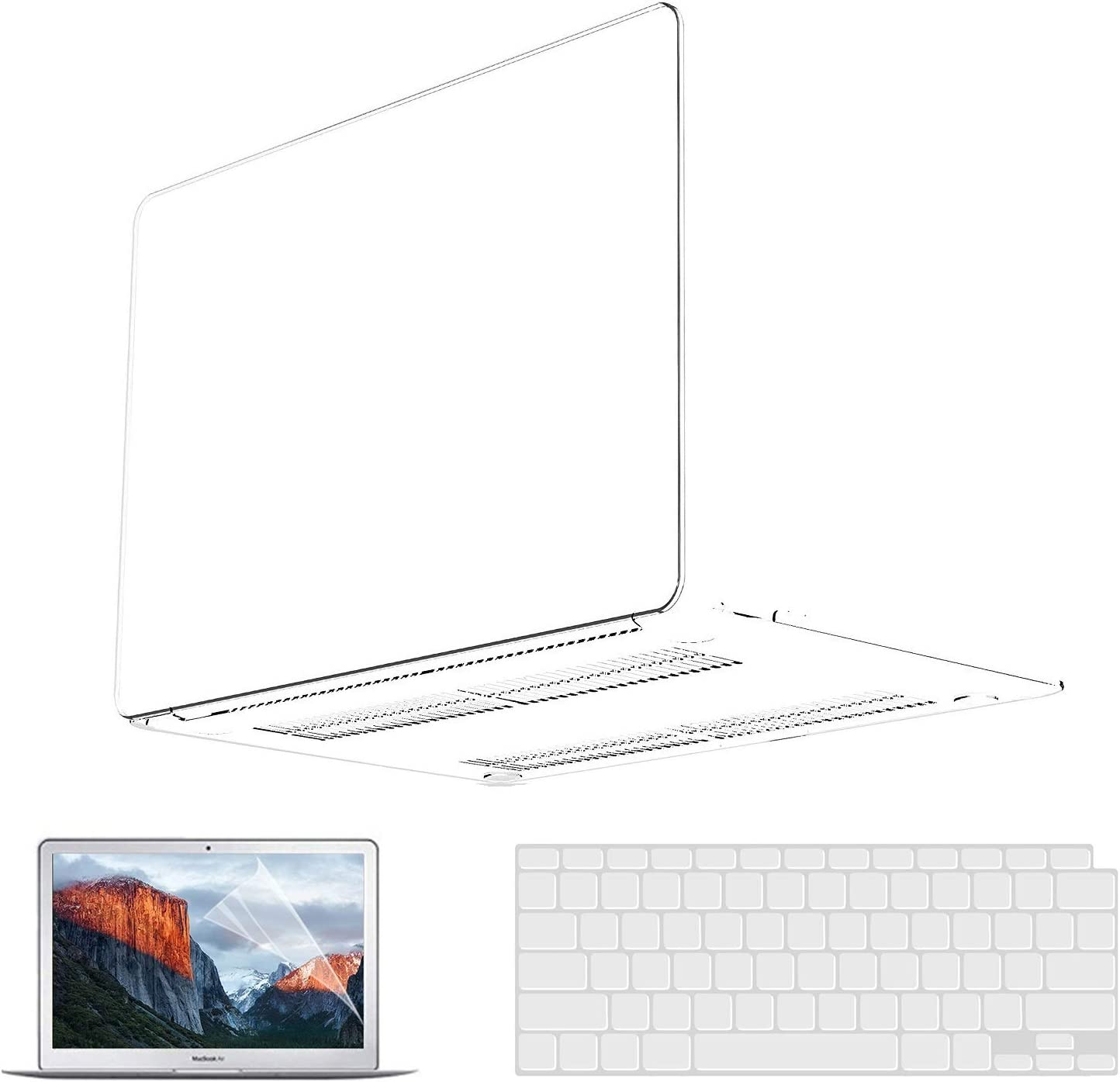 MacBook Air 13 Inch Case 2020 2021 2019 2018 Release A2337 M1 A2179 A1932, MacBook Air Case Clear Plastic Laptop Hard Shell Case & Keyboard Cover & Screen Protector Compatible for Apple MacBook Air