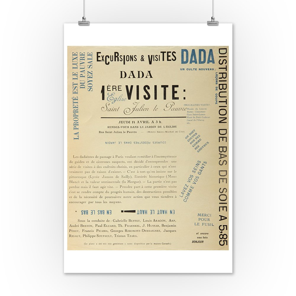 Amazon.com: Excursions and Visits Dada - Premiere Visite Vintage Poster (artist: Breton and Tzara) France c. 1921 (12x18 Art Print, Wall Decor Travel ...