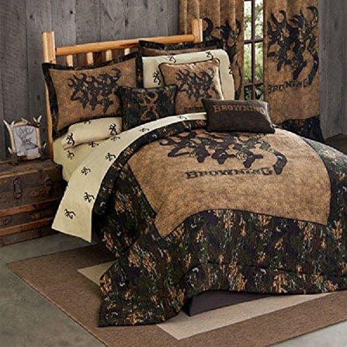 Browning 3D Buckmark 8 Pc Full Size Comforter Set (Comforter, 1 Flat Sheet, 1 Fitted Sheet, 2 Pillow Cases, 2 Shams, 1 Bedskirt) SAVE BIG ON BUNDLING!