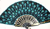 OOOUSE Peacock Pattern Sequin Fabric Hand Fan Decorative Fashionable (New Blue)
