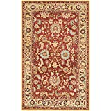 Safavieh Chelsea Collection HK805A Hand-Hooked Red and Ivory Premium Wool Area Rug (3'9″ x 5'9″)