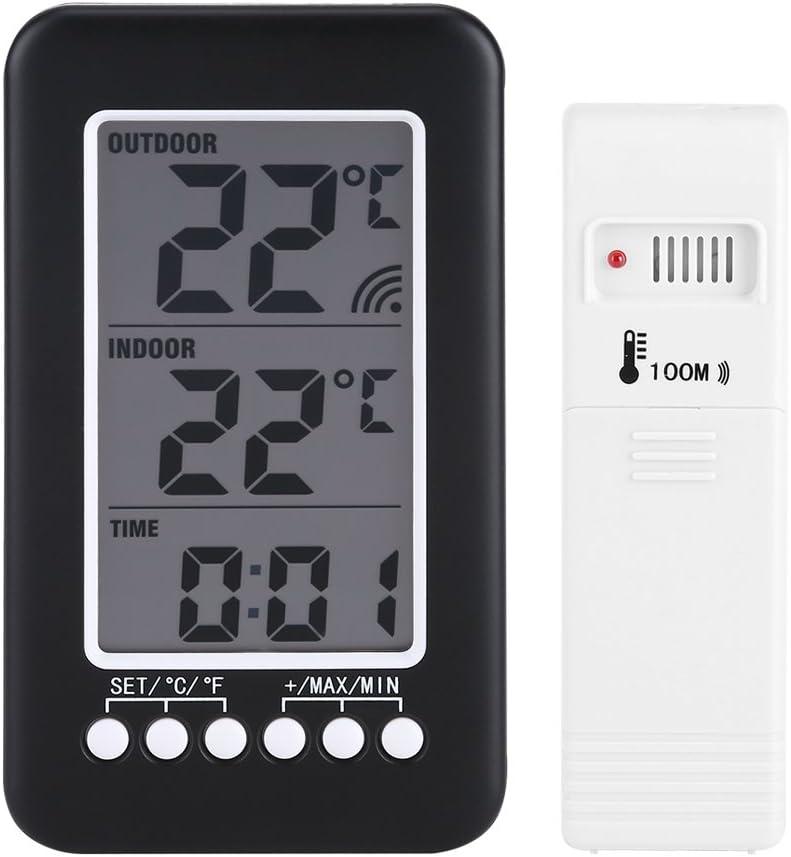 Fdit Termómetro Digital LCD Reloj Medidor de Temperatura Inalámbrico Transmisor Inalámbrico Interior Al Aire Libre Socialme-EU