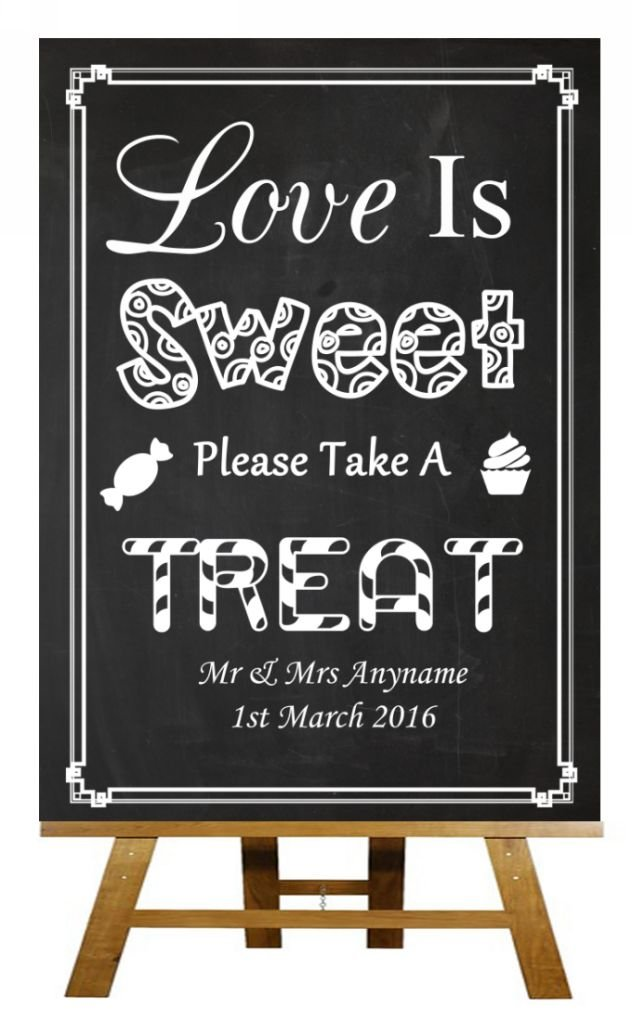 Chalkboard Style Love Is Sweet Candy Bar Cart Buffet Chalk Sketch Collection Personalised Printed Card Wedding Sign Party Animal Print