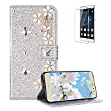 Funyye 3D Pearl Rhinestone Glitter Cover for Huawei P8 Lite,Silver Bling Diamond Lucky Butterfly Flower Magnetic Flip Wallet Cover with Stand Credit Card Silicone PU Leather Case for Huawei P8 Lite,Shockproof Non Slip Full Body Protection Cover for Huawei P8 Lite + 1 x Free Screen Protector