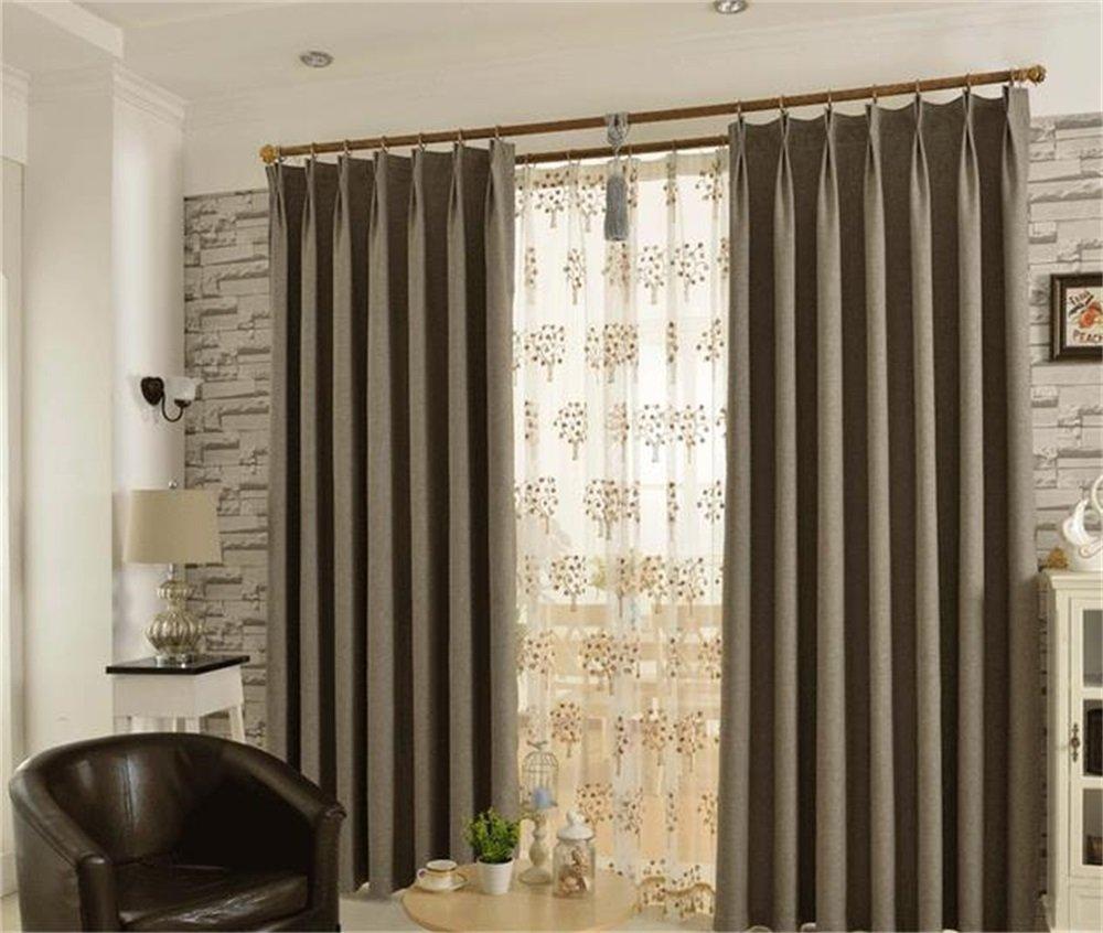 HOME UK- Ein Satz von 2 Stück Simple Imitation Hanf Voll Schattierung Vorhang Verdickung Wohnzimmer Schlafzimmer Fertigprodukte ( größe : 4*2.7m (width*height) )