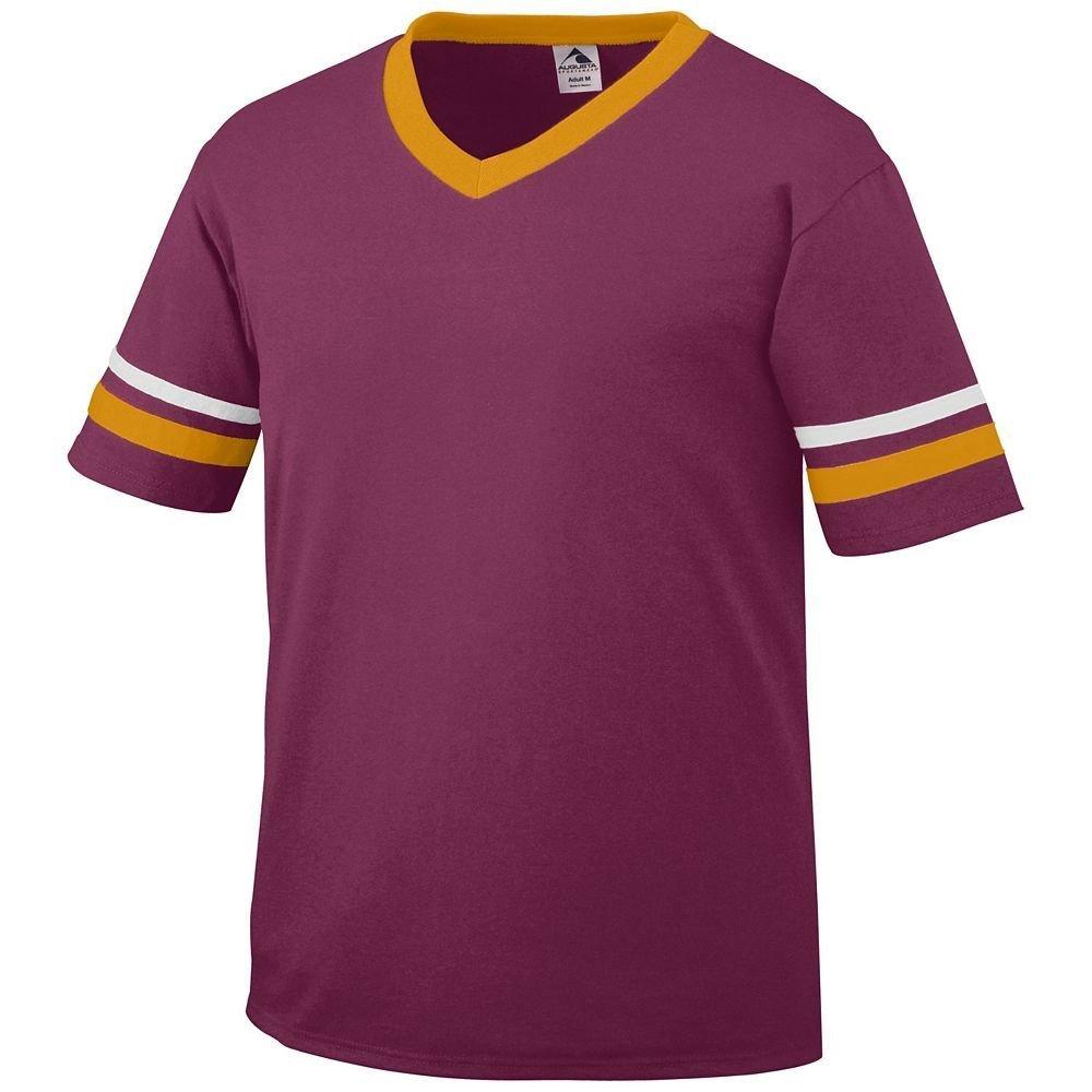 Augusta Sportswear Sleeve Stripe Jersey – Boys ' B00ID7J3Z0 Large|Maroon/Gold/White Maroon/Gold/White Large