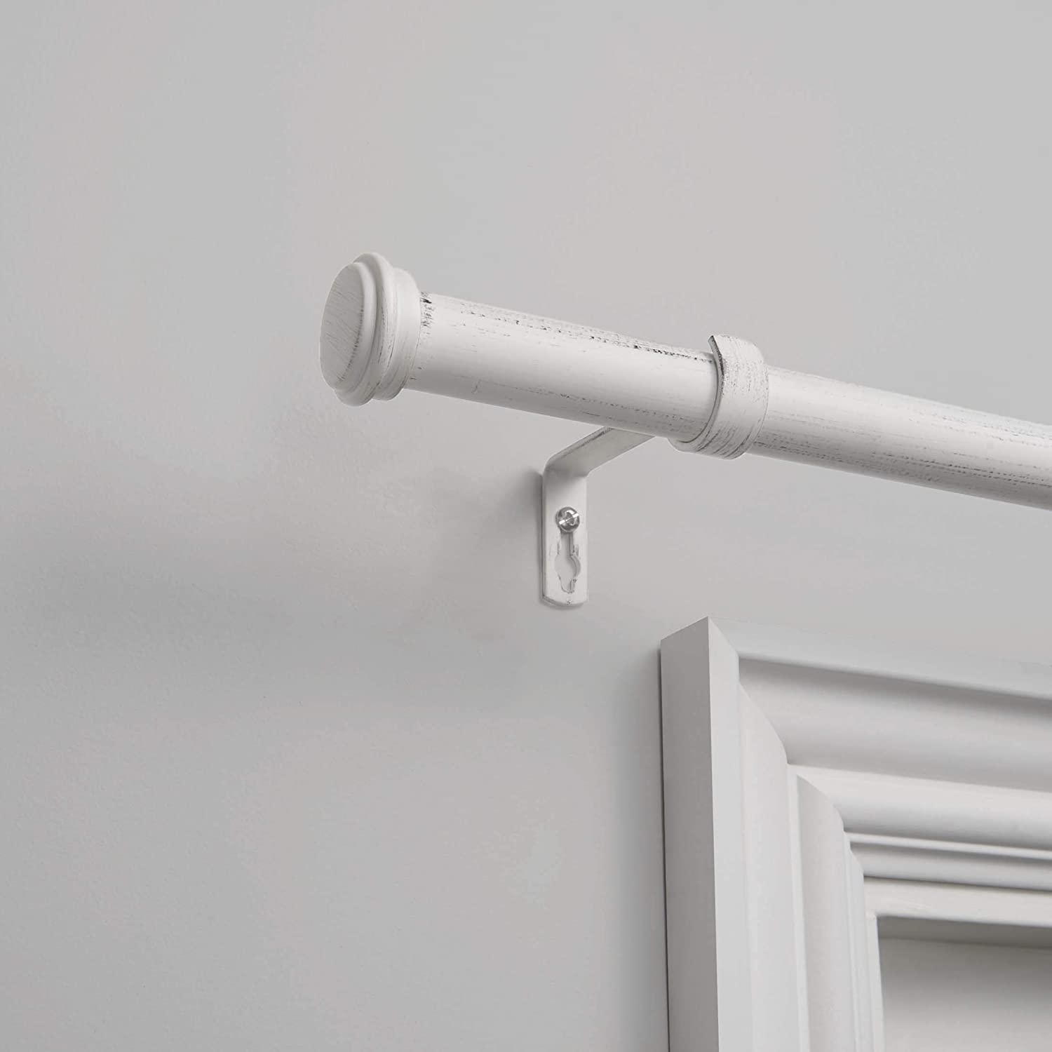 Distressed White Exclusive Home Curtains Topper 1 Curtain Rod and Finial Set 66-120