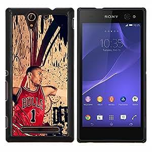 Qstar Arte & diseño plástico duro Fundas Cover Cubre Hard Case Cover para Sony Xperia C3 (Chic Bull 1 Baloncesto)