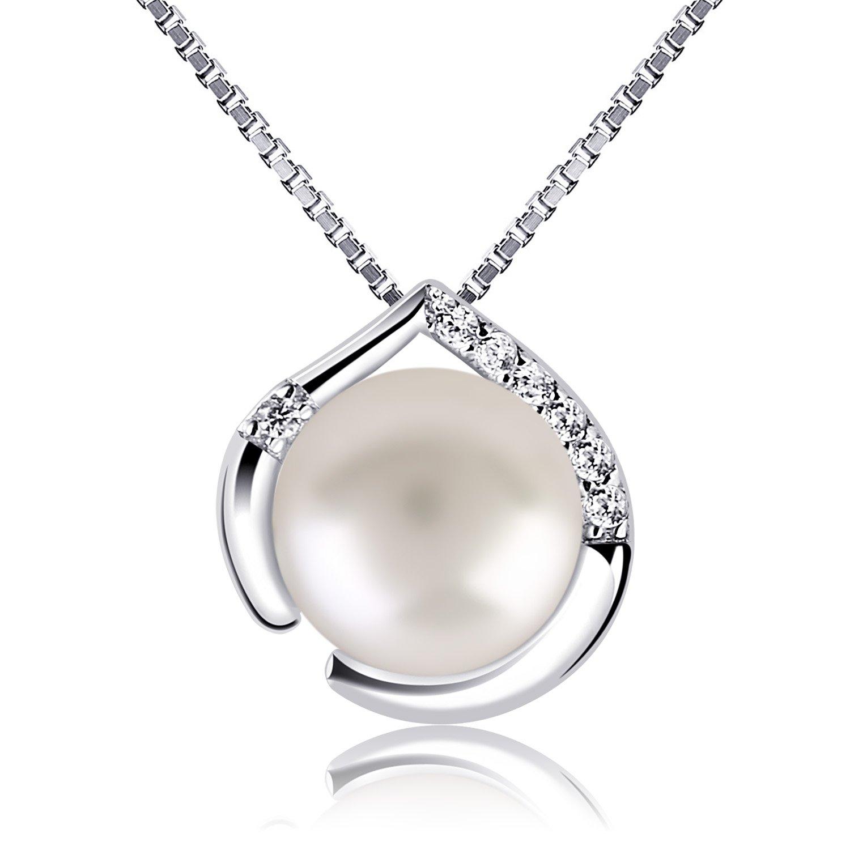60ce26c2634c B.Catcher Perla Collar Mujer Plata de Ley 925 con Para Originales Cadena  45cm Longitud