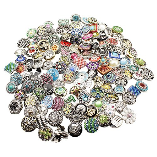 Jewelry Charm Resin (Soleebee HJ004 Mixed Random Alloy Rhinestones Resin 18-20mm Snap Buttons Jewelry Charms (Pack of 50))