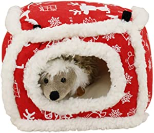 CheeseandU Plush Warm Small Pet Animals Bed Christmas Snowflakes Guinea Pigs Hanging Hammock Cage Decor Parrot Bed Hedgehog Winter Nest Rat Chinchillas & Hamster Bed/Cube/House Habitat