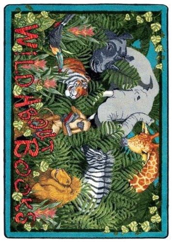 Joy Carpets Educational Essentials Wild About Books Kids Rug Rug Size: 5