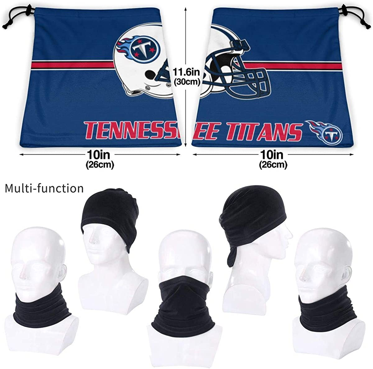 Tennessee Titans Wicking Headbands Outdoor Headwear Bandana Sports Scarf Tube Uv Face for Workout Yoga