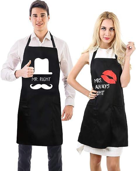Uarter Schürze Set Küchenschürze Kochschürze Verstellbare Baumwolle Couples  Küche Schürzen, Schwarz (9 Stücke)