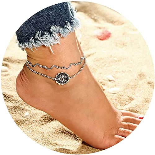 Tgirls Vintage Boho Layered Geometric Flower Anklet Round Sunflower Foot Chain Bracelet Beach Jewelry for Women and Girls