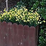 ICEYUN 5pcs Plastic Artificial Flowers, Yellow