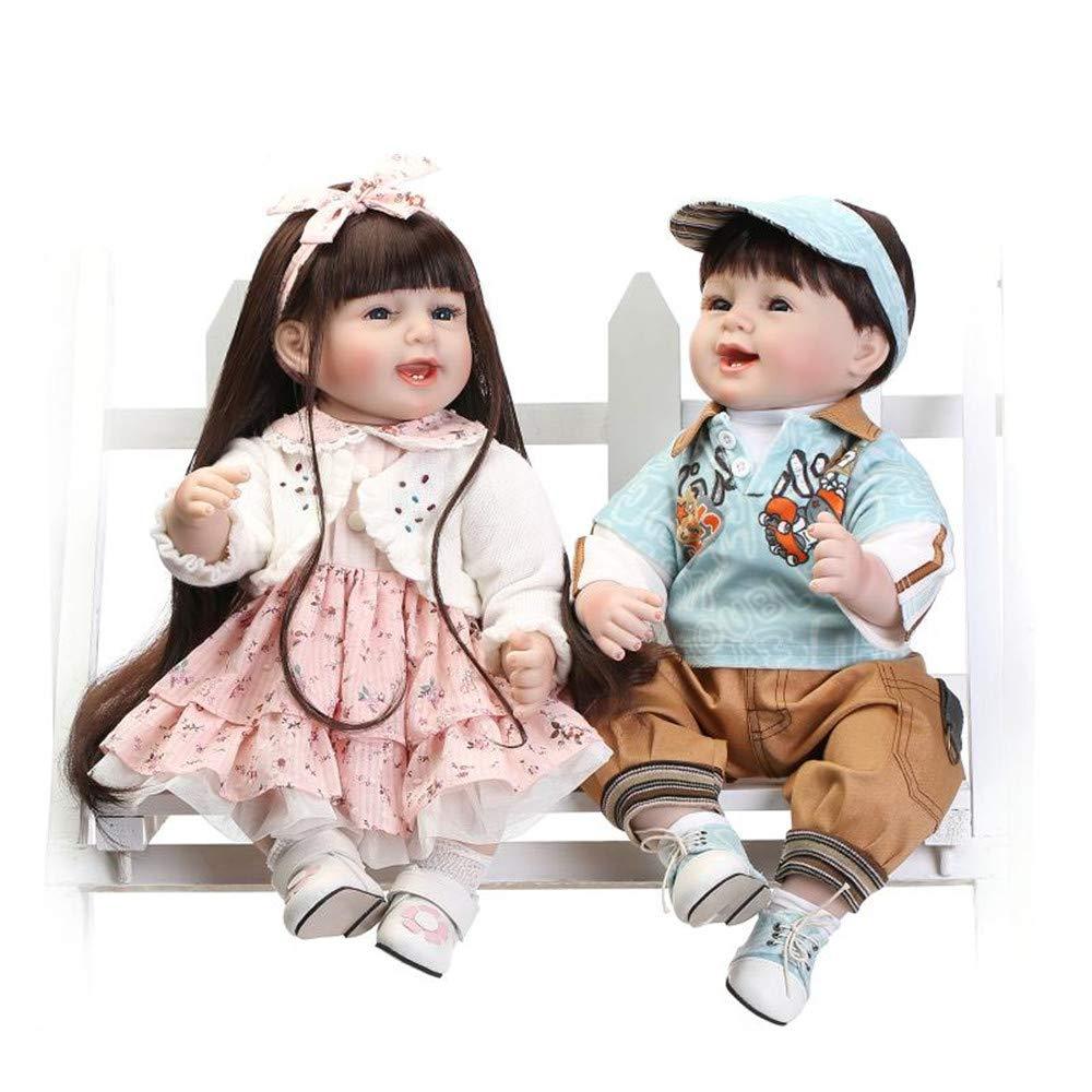 HGYG Handgemachtes Baby Doll Geburtstag Geschenke Neugeborenes Spielzeug Weiche Silikon Vinyl Reborn Babys Puppen Mädchen Junge Zwillinge Niedlich Kinder 22 Zoll 55 cm