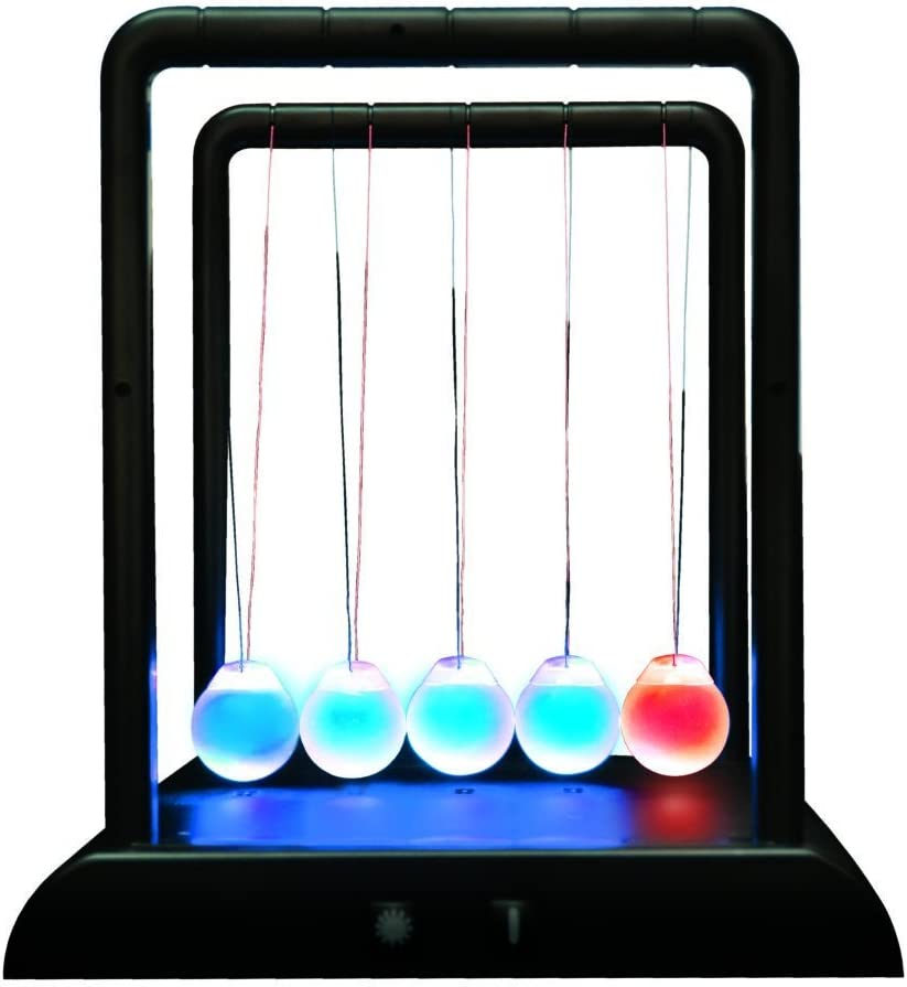 ScienceGeek Newton's Cradle Desktop Gadget 3 LED Colors Change Shine Light Ball Balance Ball