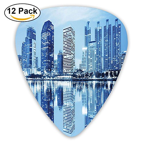 (Newfood Ss Night Scene Of City Buildings Architecture Twilight Water Reflection Metropolitan Guitar Picks 12/Pack Set)