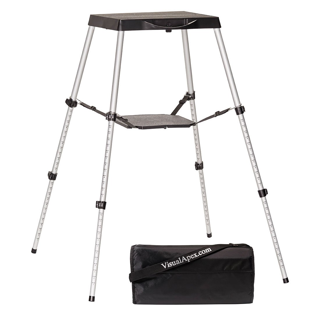 Visual Apex Portable Projector Table Stand with Shelf & Projector Carry Bag, Adjustable 18.5'' to 44'' high by Visual Apex