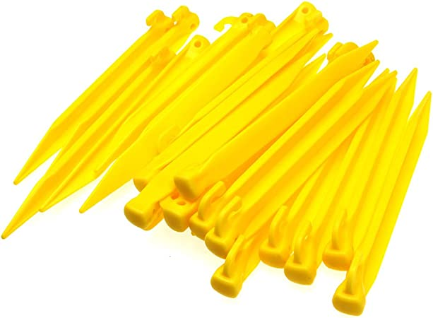 Camping Tent Pegs Stakes Heavy Duty Ground Clip Spikes Lightweight Plastic Set