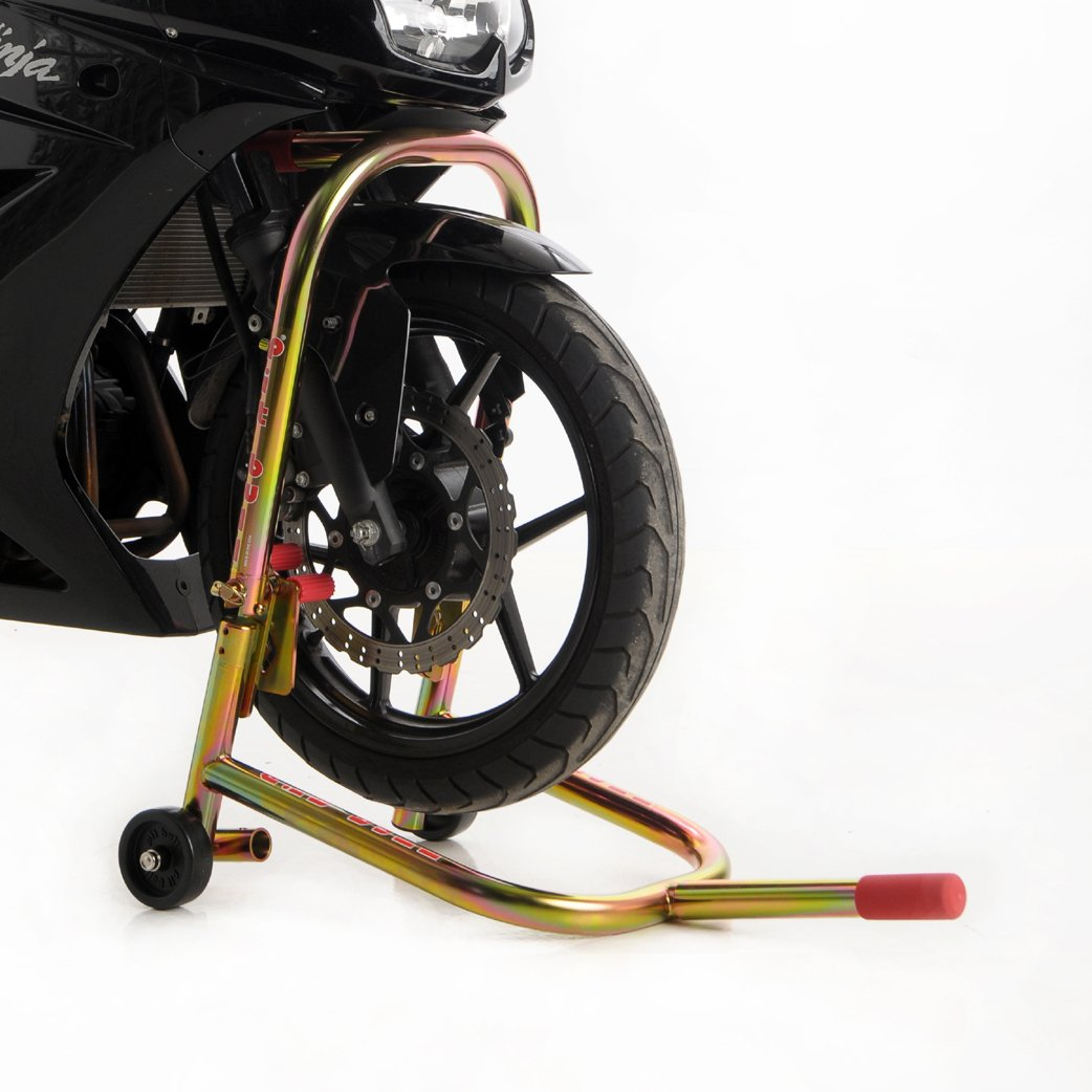 fits most modern sport bikes Pit Bull Hybrid Dual Lift Steering Stem Lift and under Forklift in one Front Motorcycle Stand fixed handle