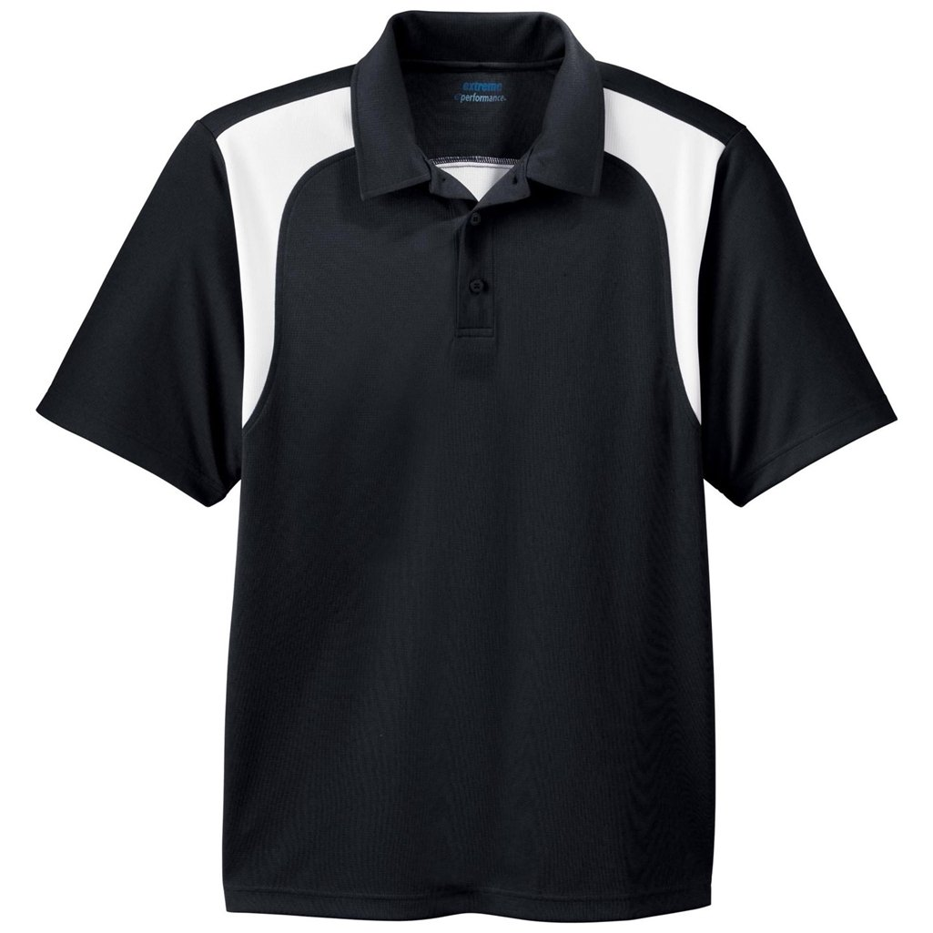 Ash City Mens E Performance Polo Shirt (Small, Black/White) by Ash City Apparel