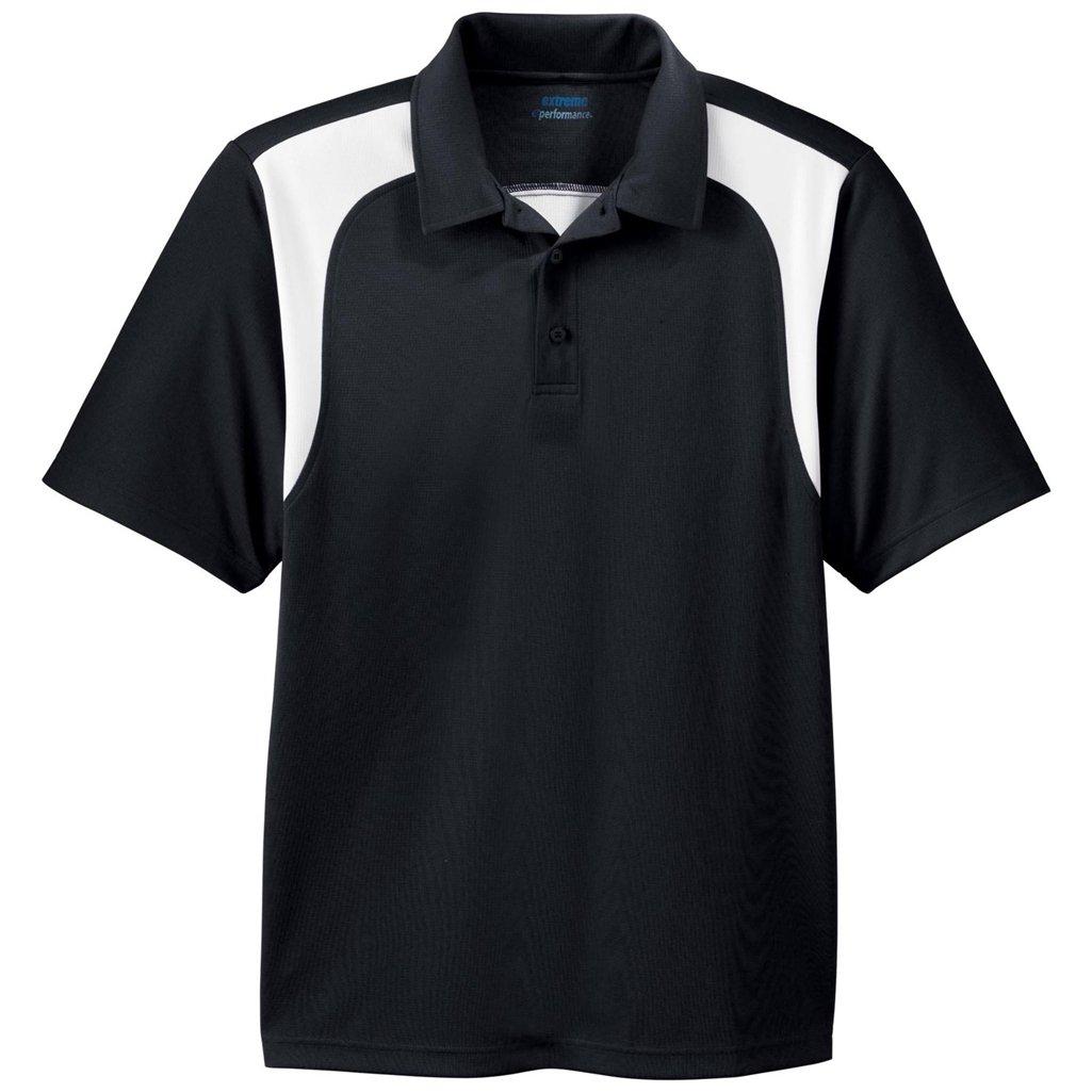 Ash City Mens E Performance Polo Shirt (Small, Black/White)