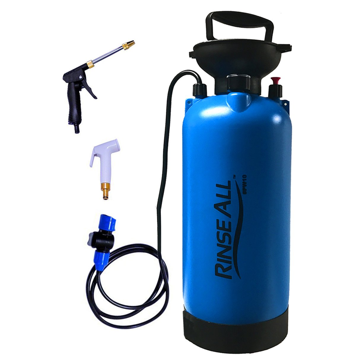 EasyGoProducts Rinse All PW10 2.1 Gallon – Car Washer Kit - Camp Shower - Portable Shower with Heavy Duty Shower Pump Handle, Flexible Hose and Pressure Gauge