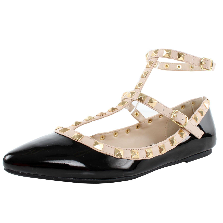 Wild Diva Women's Studded Accent Pointed Toe Ballet Flats B00PD70Z1E 5.5 B(M) US|Black