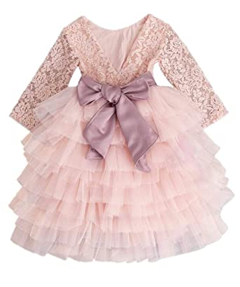 5eb34332bb Amazon.com  2Bunnies Girl Baby Girl Beaded Backless Vintage Floral Lace  A-Line Tutu Tulle Tiered Layer Party Flower Girl Dress (Pink