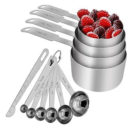 Troodon Set de Tazas y cucharas medidoras, Acero Inoxidable para Servicio Pesado, Juego de 12, Medidas grabadas - para Ingredientes líquidos y Secos