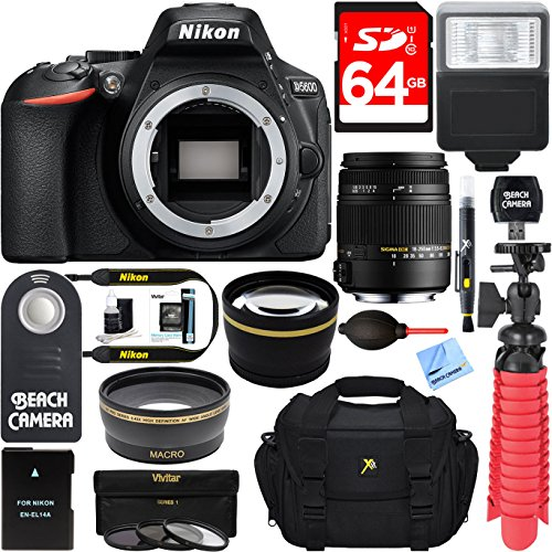 Nikon D5600 24.2 MP Digital SLR Camera + Sigma 18-250mm F3.5-6.3 DC OS HSM Macro Lens + Accessory Bundle