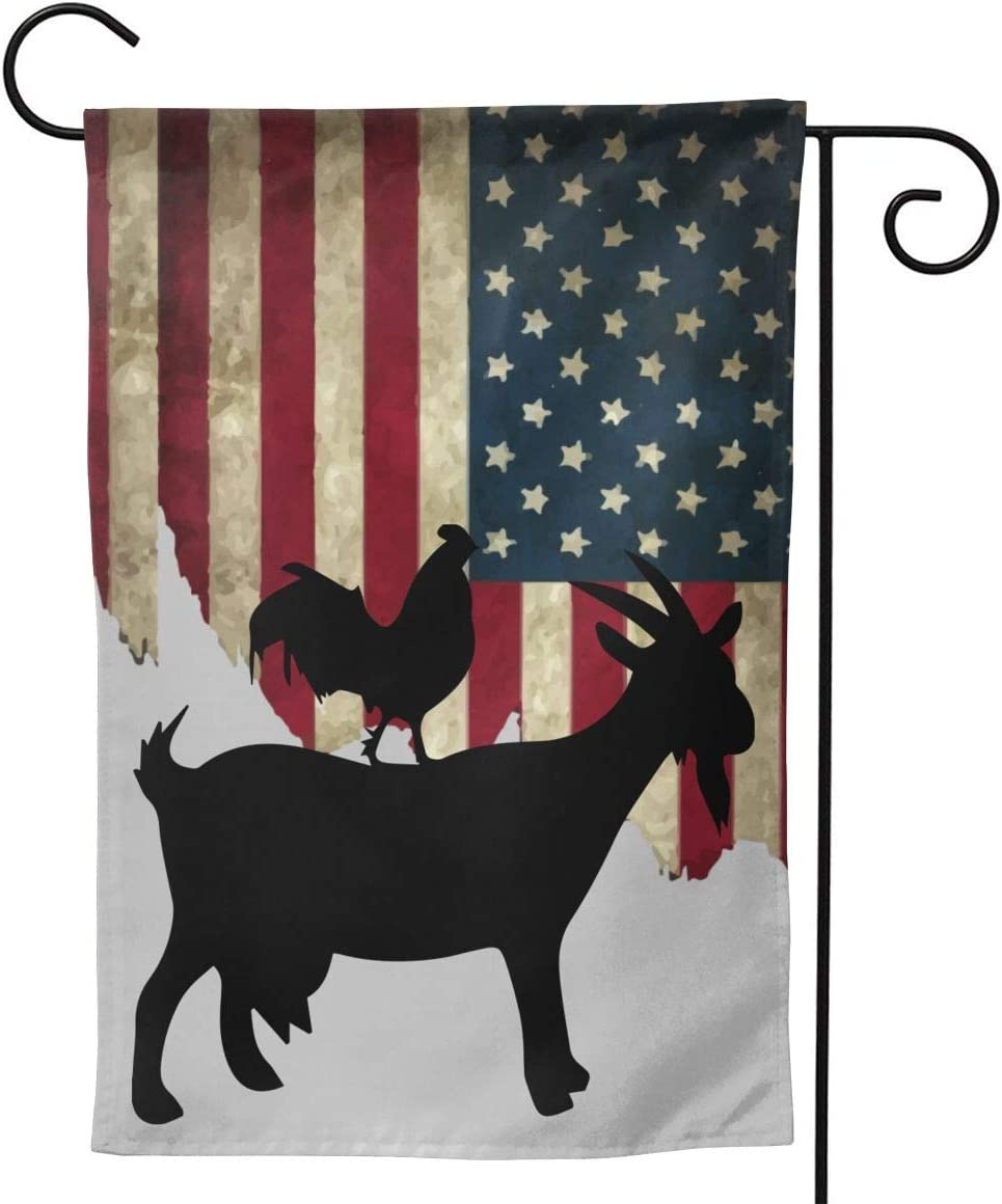 A16HYQ Garden Flags USA Flag Goat and Rooster Welcome Large Yard Double Sided House Flag Banners for Patio Lawn Home Outdoor Decor 12.5x18In 28x40In