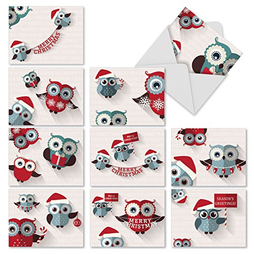 M2947 Happy Owlidays: 10 Assorted Christmas Note Cards Featuring Cute Owls Offering Holiday Cheer, w/White Envelopes.