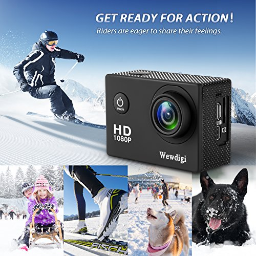 Wewdigi EV5000 Action Camera , 12MP 1080P 2 Inch LCD Screen , Waterproof Sports Cam 140 Degree Wide Angle Lens , 30m Sport Camera DV Camcorder With 10 Accessories Kit (Black-I)