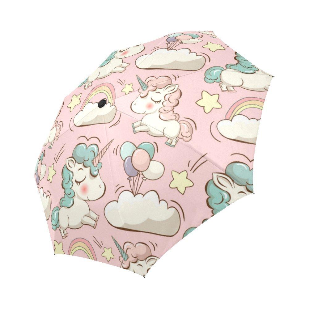 InterestPrint Cute Unicorns Windproof Automatic Open And Close Folding Umbrella,Clouds Rainbow And Star Travel Lightweight Outdoor Umbrella Rain And Sun