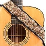 CLOUDMUSIC Guitar Strap Jacquard Weave Strap With Leather Ends Vintage Classical Pattern Design Guitar Picks Free (Flower Design 1)