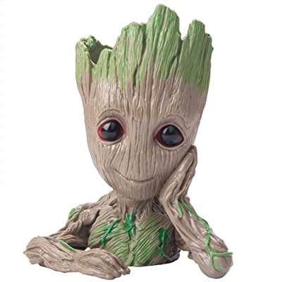 Baby Groot Guardians of The Galaxy Flowerpot Succulent Plants Planter with Drainage Hole Pen Holder: Kitchen & Dining