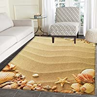 Beach Area Silky Smooth Rugs Nautical Composition with Sandy Beach Frame Surrounded by Various Sea Shells Floor Mat Pattern 4x6 Sand Brown Coral