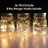 Mason Jar Solar Lantern Lights, 8 Pack 10 LEDs