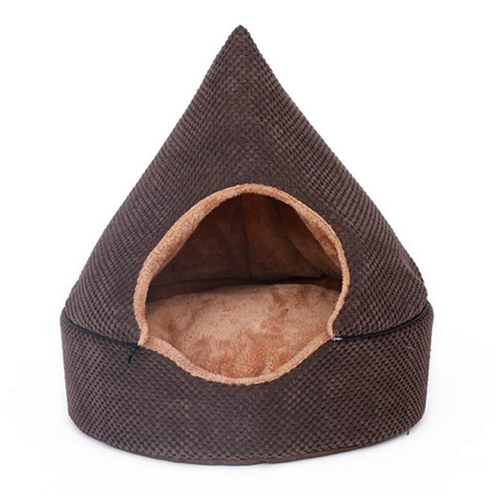 S Pet Backpack Pet Bed Yurt Closed Cat Kennel Teddy Small and Medium Pets Removable and Washable Winter Warm Chocolate color Beds (Size   S)