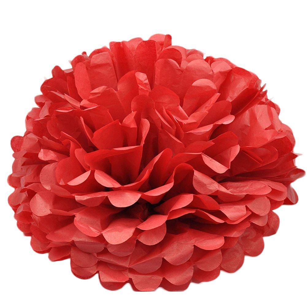 Outflower 6 cm (25 cm) 5 pcs chinois Abat-jour en papier lanterne Boule de fleurs en papier décoration de la maison (Rose), Papier, Green, 10 Inch