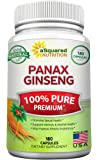 Pure Red Korean Panax Ginseng (1000mg Max Strength) 180 Capsules Root Extract Complex, Asian Powder Supplement, High Potency Ginsenosides in Seeds, Tablet Pills for Women & Men for Sex & Mental Health